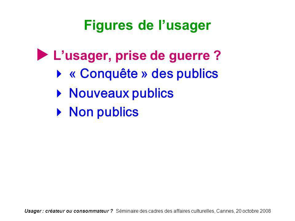 Usager : créateur ou consommateur ? Séminaire des cadres des affaires culturelles, Cannes, 20 octobre 2008 Lusager, prise de guerre ? « Conquête » des