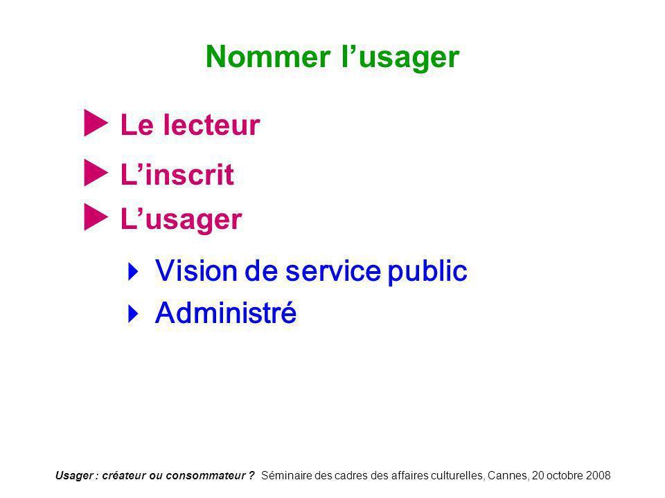 Usager : créateur ou consommateur ? Séminaire des cadres des affaires culturelles, Cannes, 20 octobre 2008 Le lecteur Vision de service public Adminis