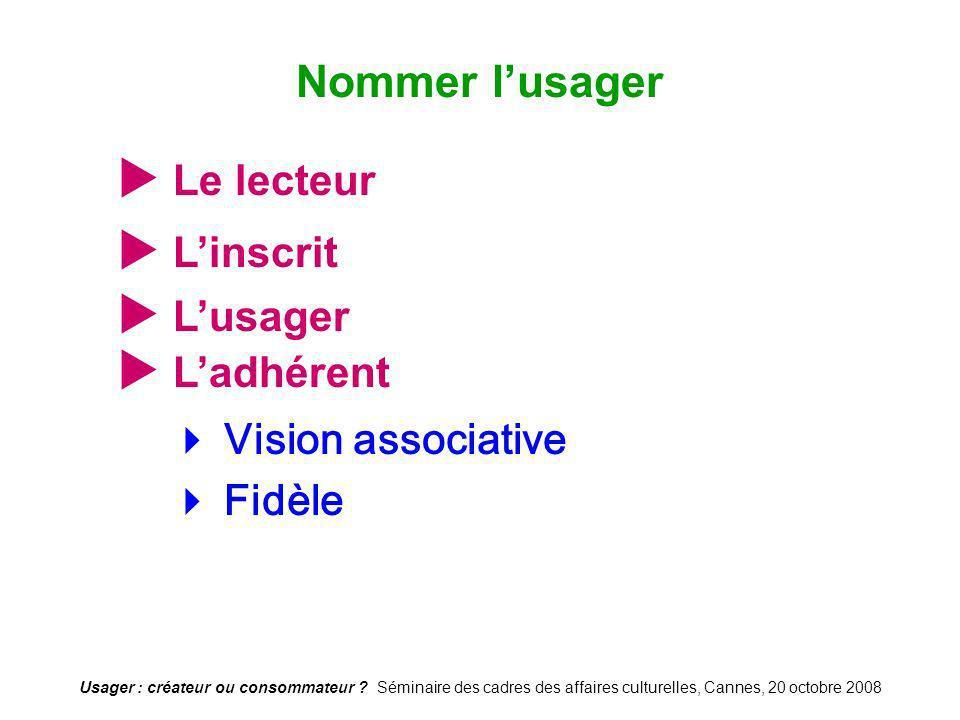 Usager : créateur ou consommateur ? Séminaire des cadres des affaires culturelles, Cannes, 20 octobre 2008 Le lecteur Vision associative Fidèle Nommer