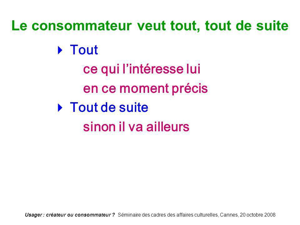 Usager : créateur ou consommateur ? Séminaire des cadres des affaires culturelles, Cannes, 20 octobre 2008 Le consommateur veut tout, tout de suite To