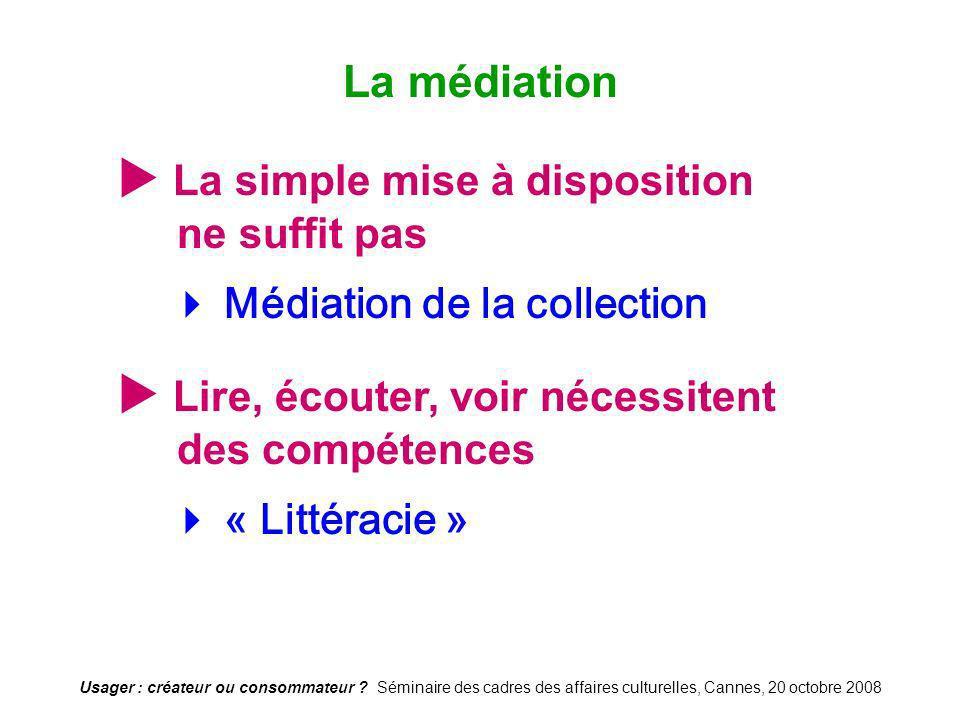 Usager : créateur ou consommateur ? Séminaire des cadres des affaires culturelles, Cannes, 20 octobre 2008 La simple mise à disposition ne suffit pas