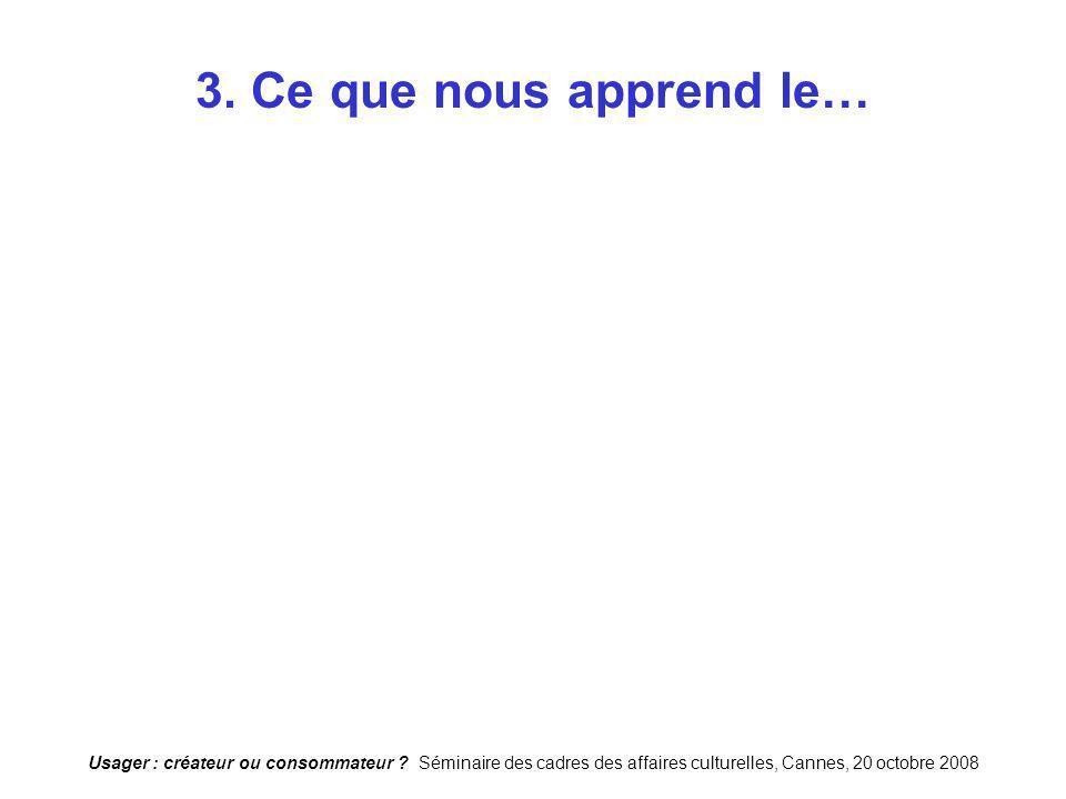 Usager : créateur ou consommateur ? Séminaire des cadres des affaires culturelles, Cannes, 20 octobre 2008 3. Ce que nous apprend le…