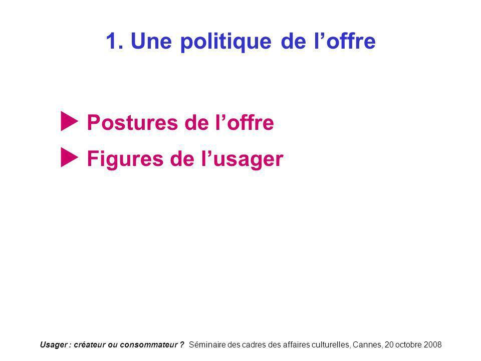 Usager : créateur ou consommateur ? Séminaire des cadres des affaires culturelles, Cannes, 20 octobre 2008 1. Une politique de loffre Postures de loff