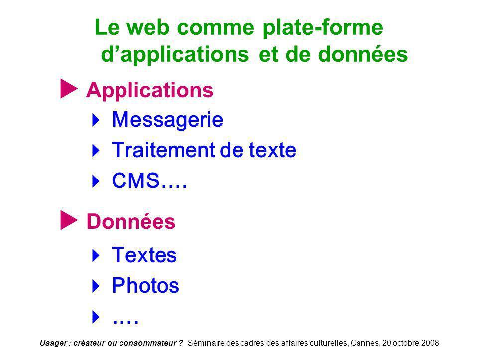 Usager : créateur ou consommateur ? Séminaire des cadres des affaires culturelles, Cannes, 20 octobre 2008 Applications Messagerie Traitement de texte
