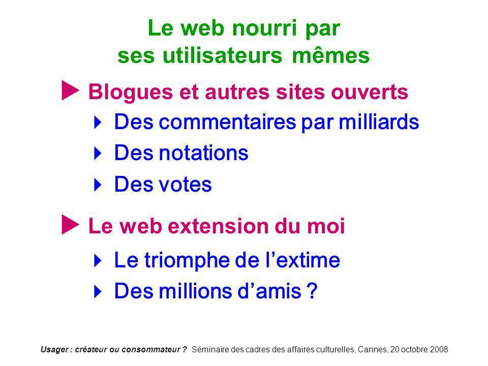Usager : créateur ou consommateur ? Séminaire des cadres des affaires culturelles, Cannes, 20 octobre 2008 Blogues et autres sites ouverts Des comment