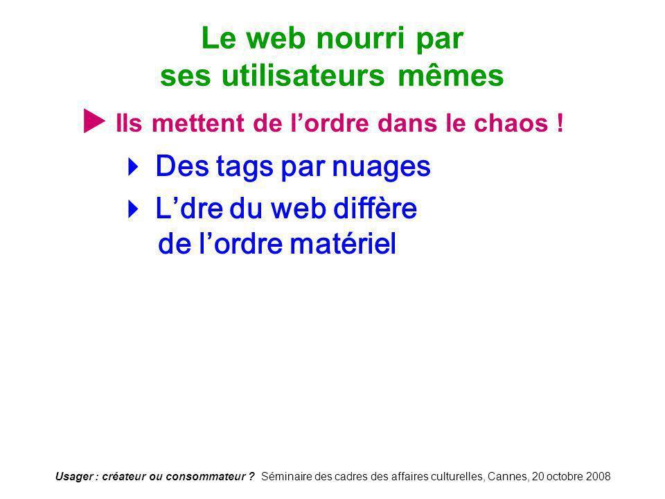 Usager : créateur ou consommateur ? Séminaire des cadres des affaires culturelles, Cannes, 20 octobre 2008 Ils mettent de lordre dans le chaos ! Des t