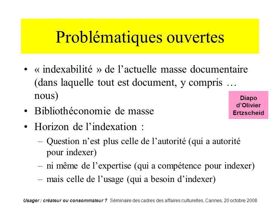 Usager : créateur ou consommateur ? Séminaire des cadres des affaires culturelles, Cannes, 20 octobre 2008 Problématiques ouvertes « indexabilité » de