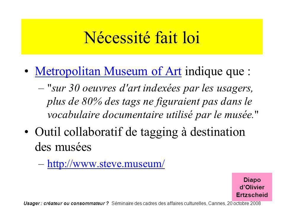 Usager : créateur ou consommateur ? Séminaire des cadres des affaires culturelles, Cannes, 20 octobre 2008 Nécessité fait loi Metropolitan Museum of A
