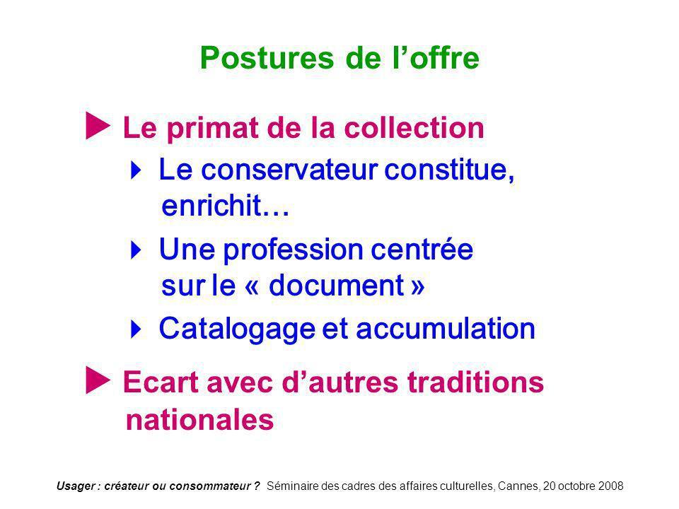 Usager : créateur ou consommateur ? Séminaire des cadres des affaires culturelles, Cannes, 20 octobre 2008 Le primat de la collection Le conservateur