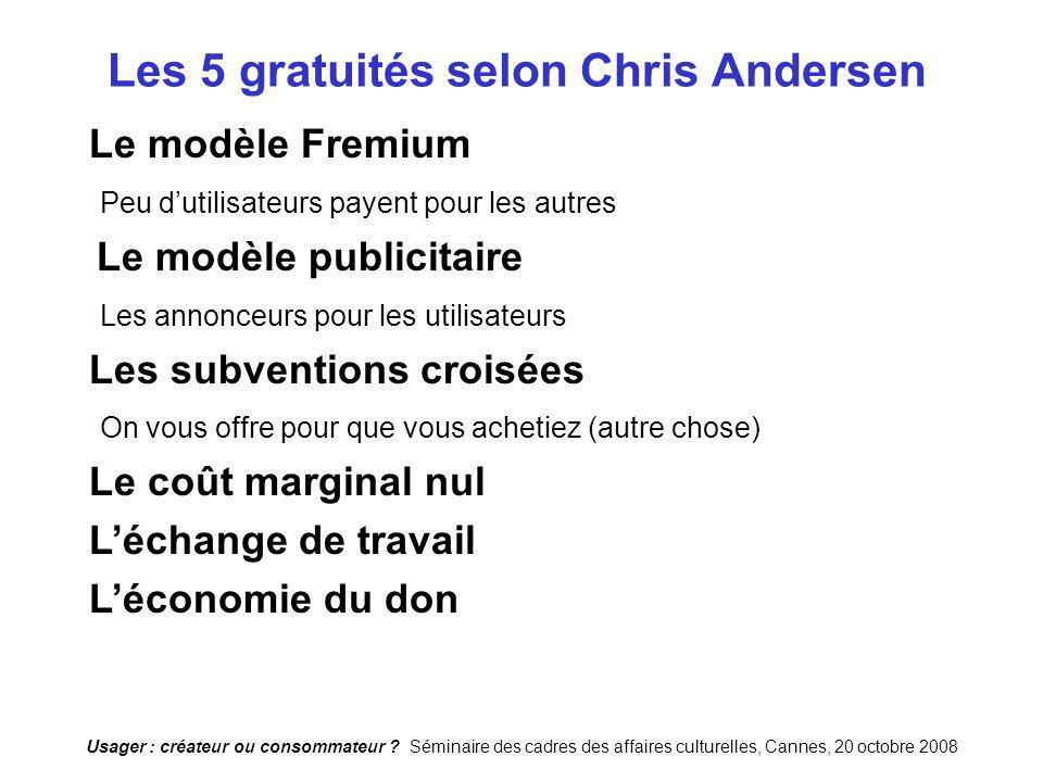 Usager : créateur ou consommateur ? Séminaire des cadres des affaires culturelles, Cannes, 20 octobre 2008 Les 5 gratuités selon Chris Andersen Le mod