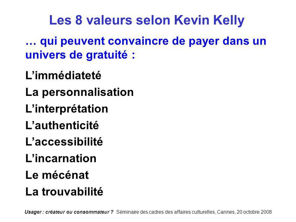 Usager : créateur ou consommateur ? Séminaire des cadres des affaires culturelles, Cannes, 20 octobre 2008 Les 8 valeurs selon Kevin Kelly … qui peuve