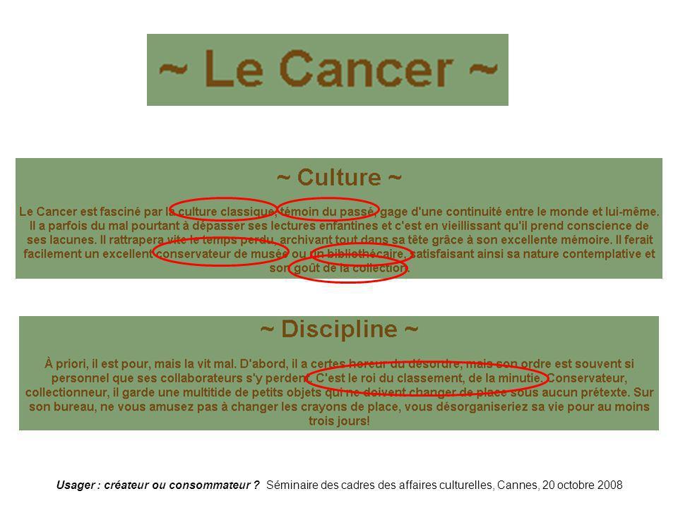 Usager : créateur ou consommateur ? Séminaire des cadres des affaires culturelles, Cannes, 20 octobre 2008 Cancer