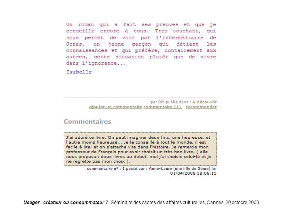 Usager : créateur ou consommateur ? Séminaire des cadres des affaires culturelles, Cannes, 20 octobre 2008 Blog-bagnolet21