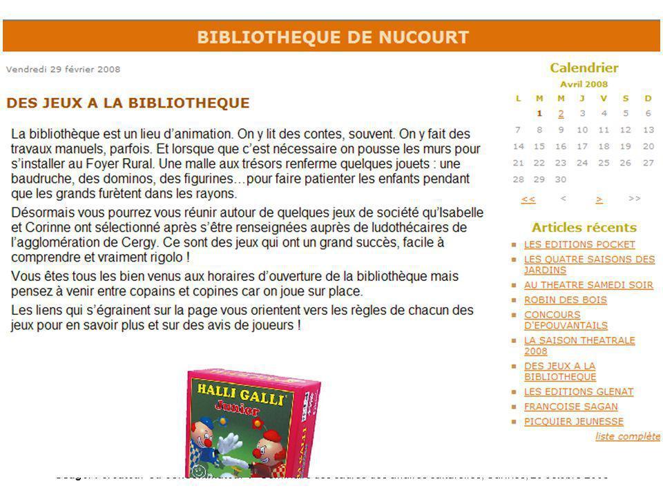 Usager : créateur ou consommateur ? Séminaire des cadres des affaires culturelles, Cannes, 20 octobre 2008 Blog-nucourt