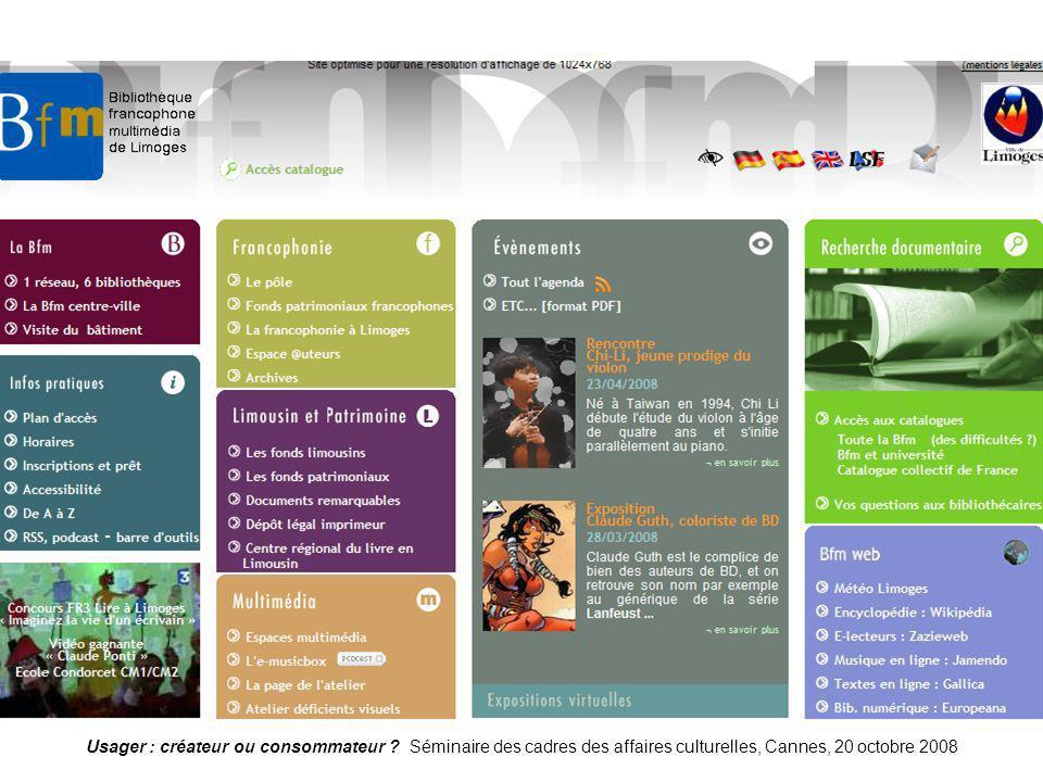 Usager : créateur ou consommateur ? Séminaire des cadres des affaires culturelles, Cannes, 20 octobre 2008 Limoges