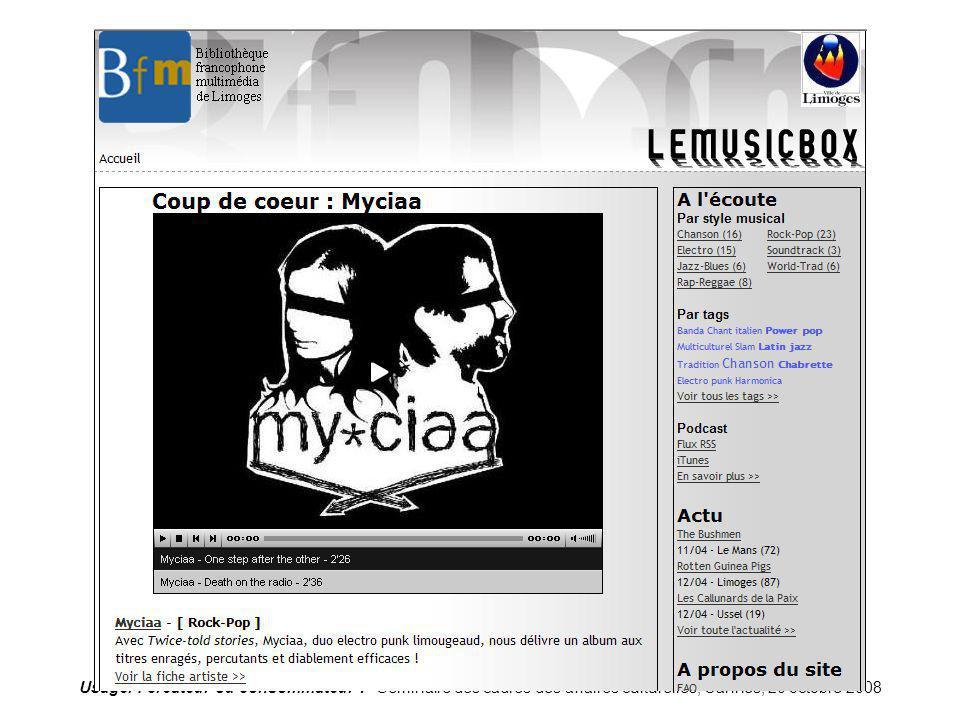 Usager : créateur ou consommateur ? Séminaire des cadres des affaires culturelles, Cannes, 20 octobre 2008 Limoges-imusic