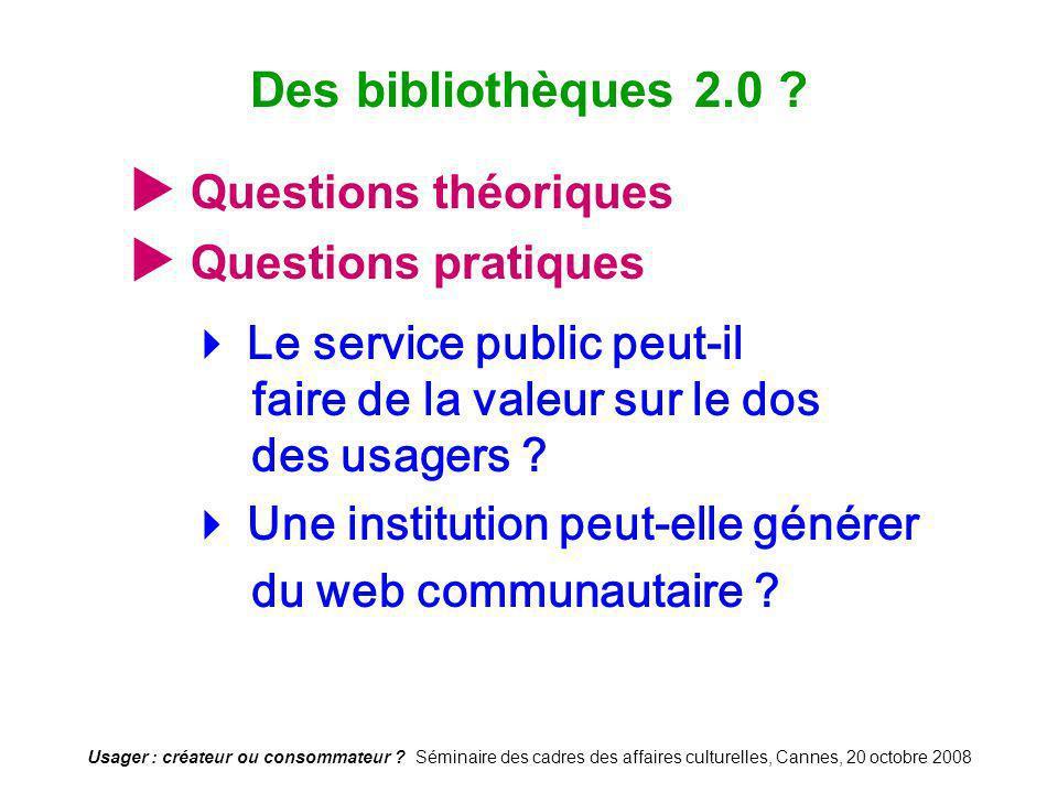 Usager : créateur ou consommateur ? Séminaire des cadres des affaires culturelles, Cannes, 20 octobre 2008 Questions théoriques Questions pratiques Le