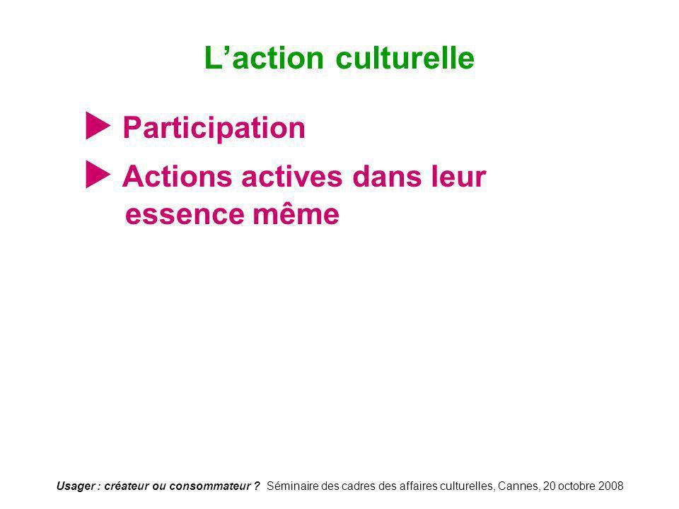 Usager : créateur ou consommateur ? Séminaire des cadres des affaires culturelles, Cannes, 20 octobre 2008 Participation Actions actives dans leur ess