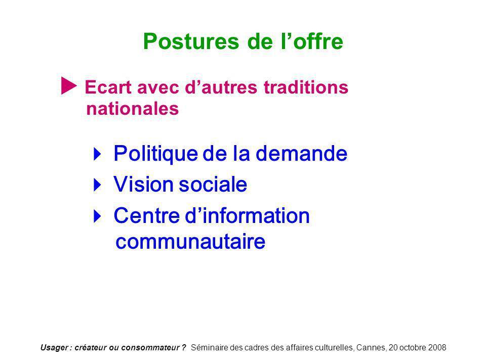 Usager : créateur ou consommateur ? Séminaire des cadres des affaires culturelles, Cannes, 20 octobre 2008 Ecart avec dautres traditions nationales Po