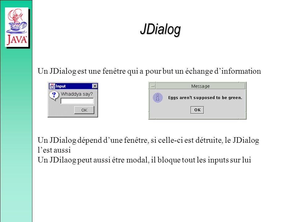 JDialog Un JDialog est une fenêtre qui a pour but un échange dinformation Un JDialog dépend dune fenêtre, si celle-ci est détruite, le JDialog lest au