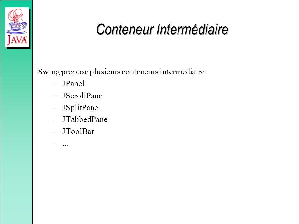 Conteneur Intermédiaire Swing propose plusieurs conteneurs intermédiaire: –JPanel –JScrollPane –JSplitPane –JTabbedPane –JToolBar –...