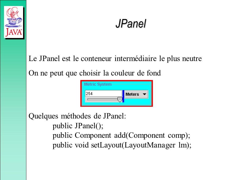 Le JPanel est le conteneur intermédiaire le plus neutre On ne peut que choisir la couleur de fond Quelques méthodes de JPanel: public JPanel(); public
