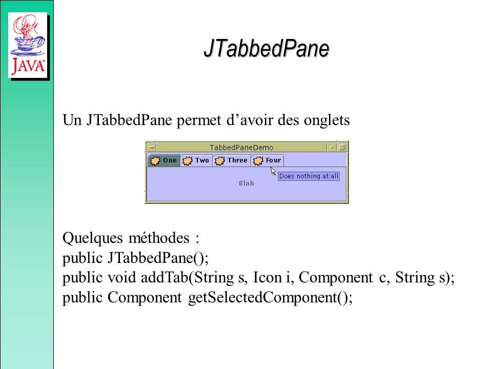 JTabbedPane Un JTabbedPane permet davoir des onglets Quelques méthodes : public JTabbedPane(); public void addTab(String s, Icon i, Component c, Strin
