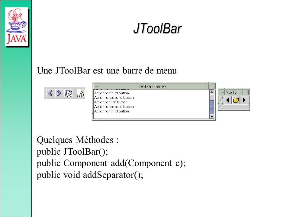 JToolBar Une JToolBar est une barre de menu Quelques Méthodes : public JToolBar(); public Component add(Component c); public void addSeparator();
