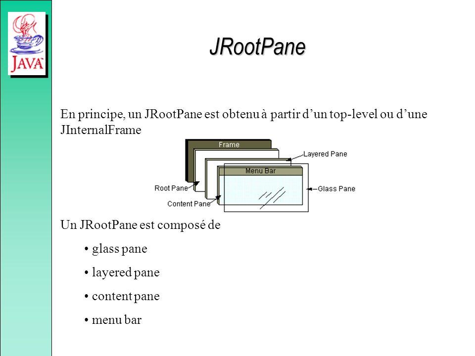 JRootPane En principe, un JRootPane est obtenu à partir dun top-level ou dune JInternalFrame Un JRootPane est composé de glass pane layered pane conte