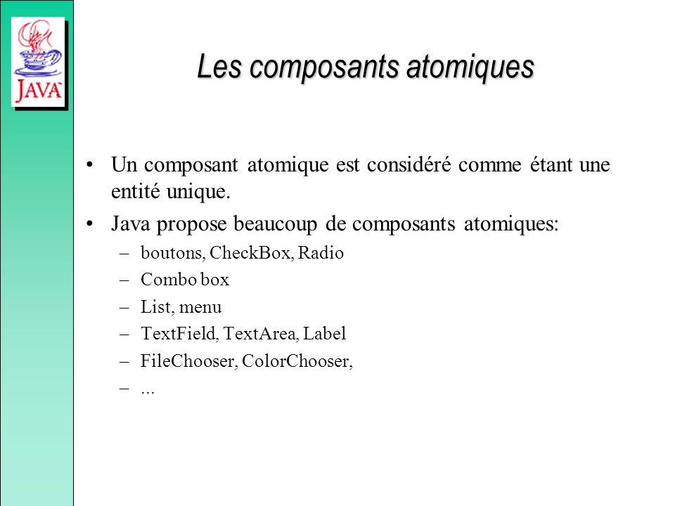 Les composants atomiques Un composant atomique est considéré comme étant une entité unique. Java propose beaucoup de composants atomiques: –boutons, C