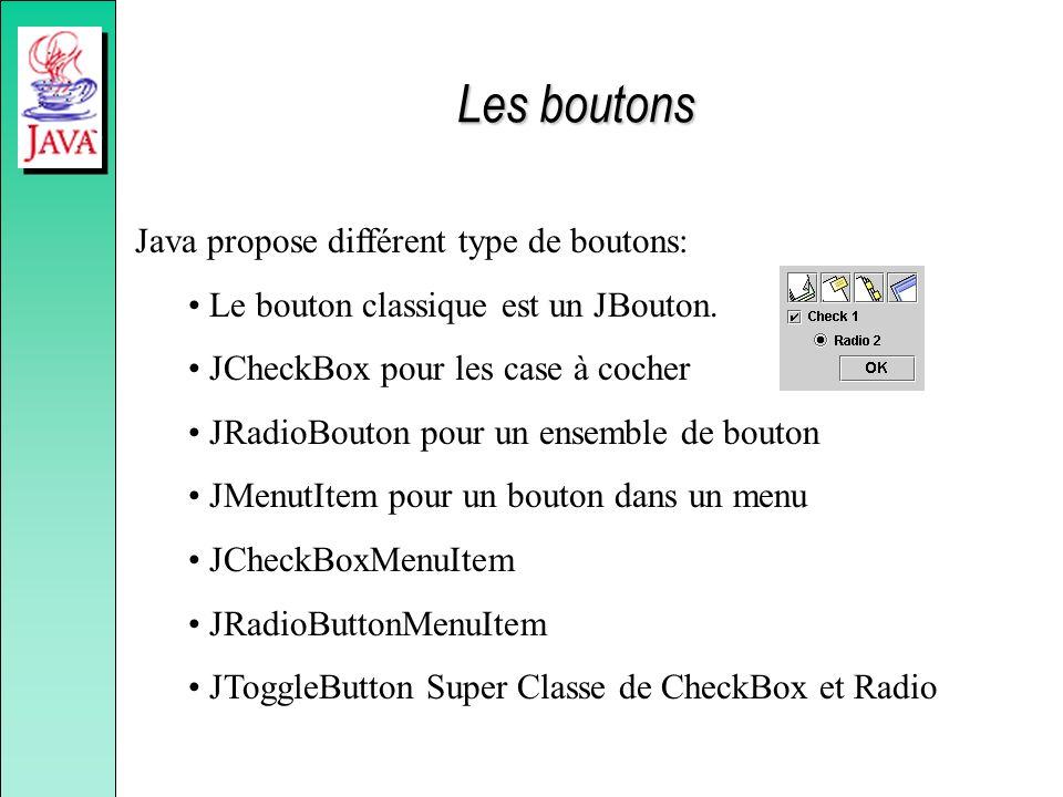 Java propose différent type de boutons: Le bouton classique est un JBouton. JCheckBox pour les case à cocher JRadioBouton pour un ensemble de bouton J