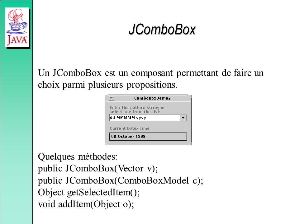JComboBox Un JComboBox est un composant permettant de faire un choix parmi plusieurs propositions. Quelques méthodes: public JComboBox(Vector v); publ