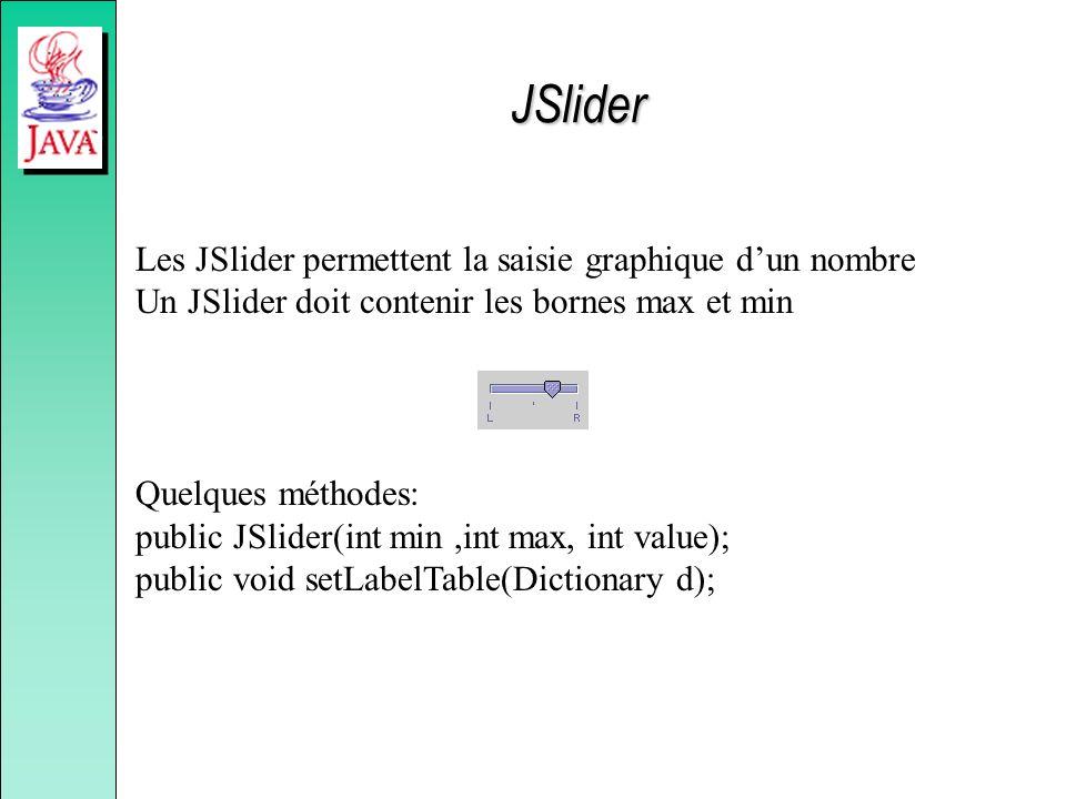 JSlider Les JSlider permettent la saisie graphique dun nombre Un JSlider doit contenir les bornes max et min Quelques méthodes: public JSlider(int min