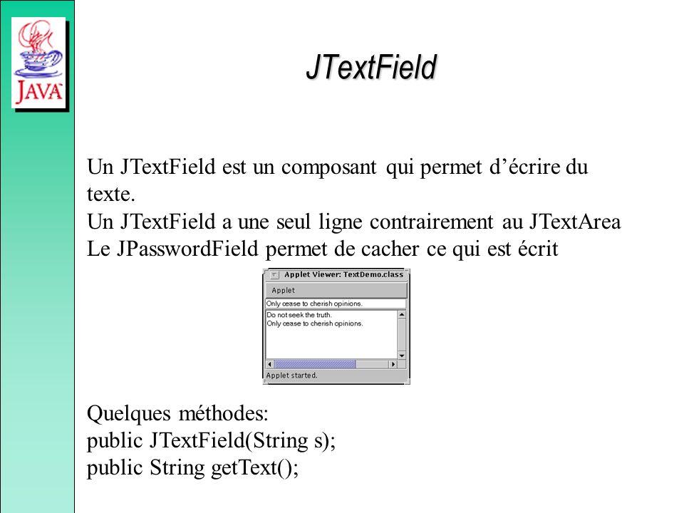 Un JTextField est un composant qui permet décrire du texte. Un JTextField a une seul ligne contrairement au JTextArea Le JPasswordField permet de cach
