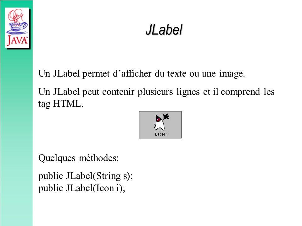 Un JLabel permet dafficher du texte ou une image. Un JLabel peut contenir plusieurs lignes et il comprend les tag HTML. Quelques méthodes: public JLab