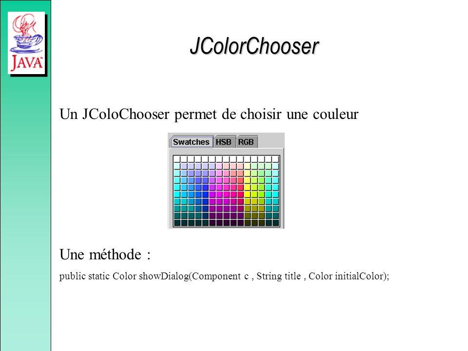 Un JColoChooser permet de choisir une couleur Une méthode : public static Color showDialog(Component c, String title, Color initialColor); JColorChoos