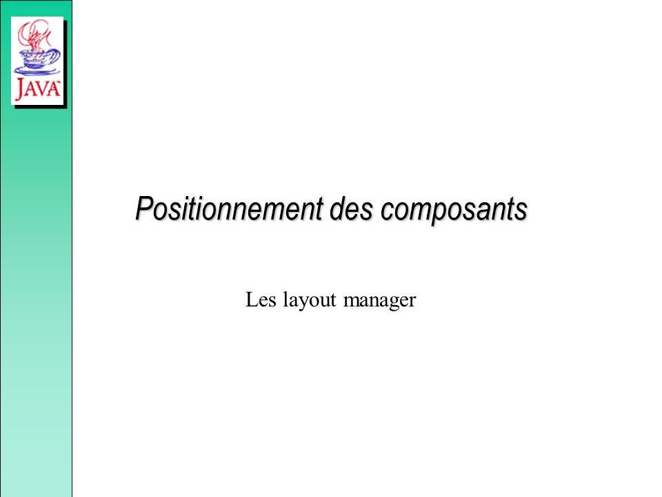 Positionnement des composants Les layout manager