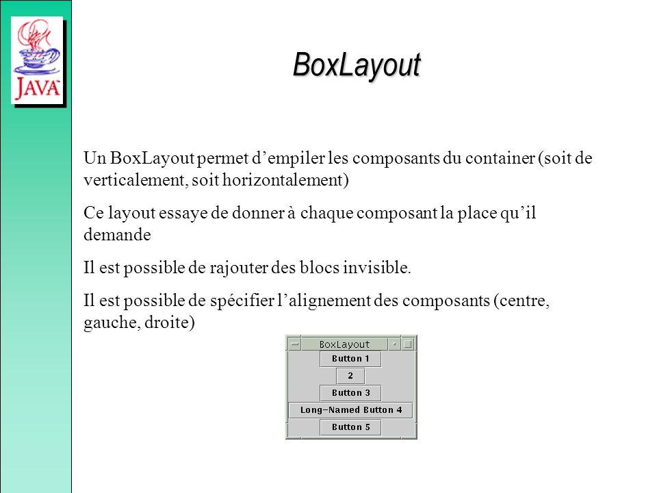 BoxLayout Un BoxLayout permet dempiler les composants du container (soit de verticalement, soit horizontalement) Ce layout essaye de donner à chaque c