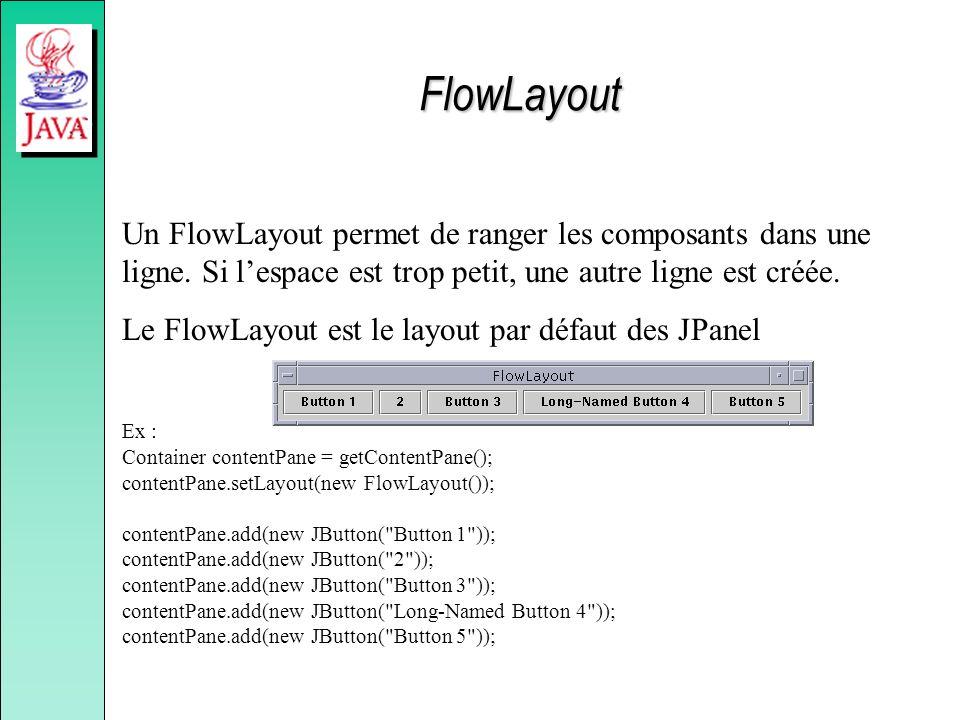 Un FlowLayout permet de ranger les composants dans une ligne. Si lespace est trop petit, une autre ligne est créée. Le FlowLayout est le layout par dé