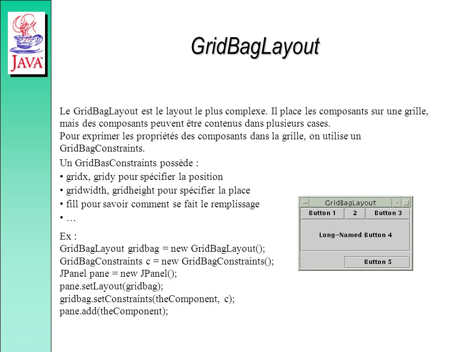 Le GridBagLayout est le layout le plus complexe. Il place les composants sur une grille, mais des composants peuvent être contenus dans plusieurs case