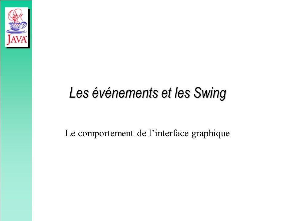 Les événements et les Swing Le comportement de linterface graphique