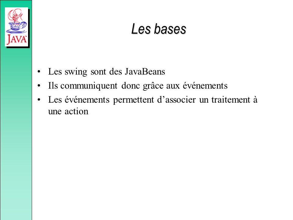 Les bases Les swing sont des JavaBeans Ils communiquent donc grâce aux événements Les événements permettent dassocier un traitement à une action
