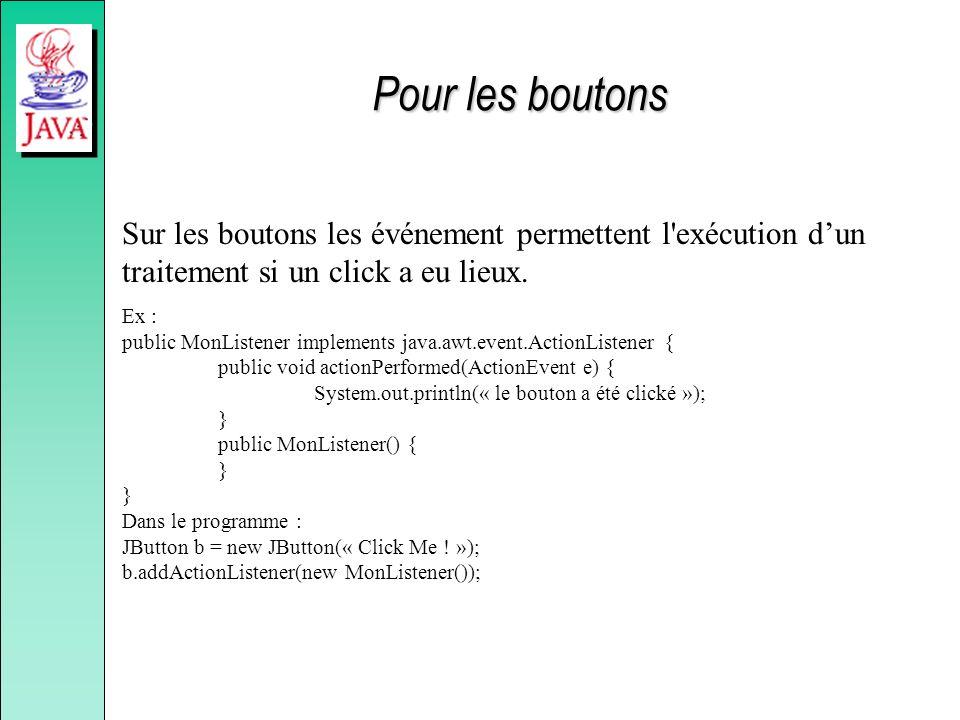 Pour les boutons Sur les boutons les événement permettent l'exécution dun traitement si un click a eu lieux. Ex : public MonListener implements java.a