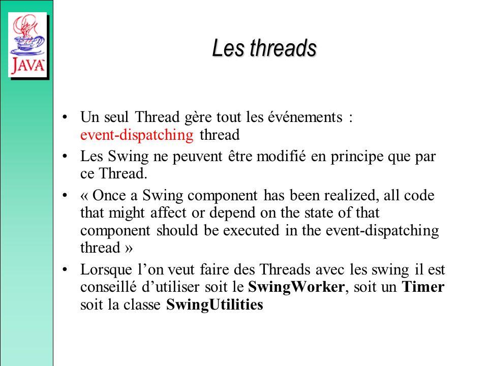 Les threads Un seul Thread gère tout les événements : event-dispatching thread Les Swing ne peuvent être modifié en principe que par ce Thread. « Once
