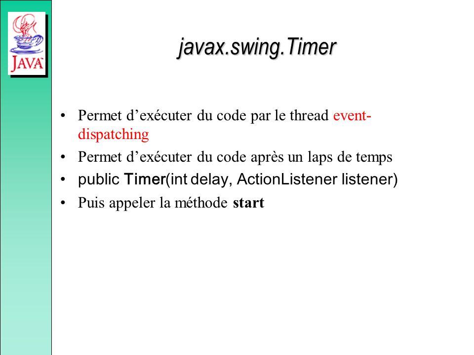 javax.swing.Timer Permet dexécuter du code par le thread event- dispatching Permet dexécuter du code après un laps de temps public Timer(int delay, Ac