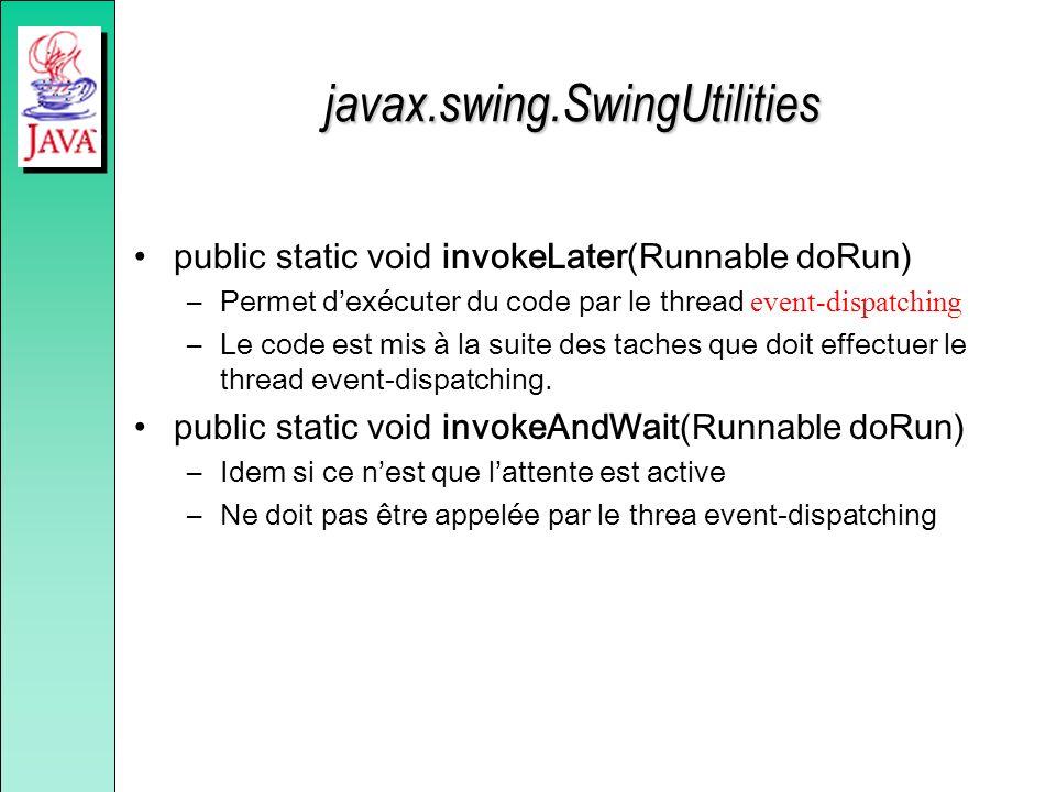 javax.swing.SwingUtilities public static void invokeLater(Runnable doRun) –Permet dexécuter du code par le thread event-dispatching –Le code est mis à