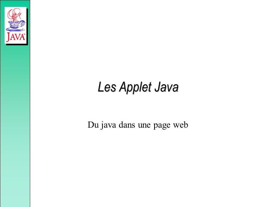 Les Applet Java Du java dans une page web