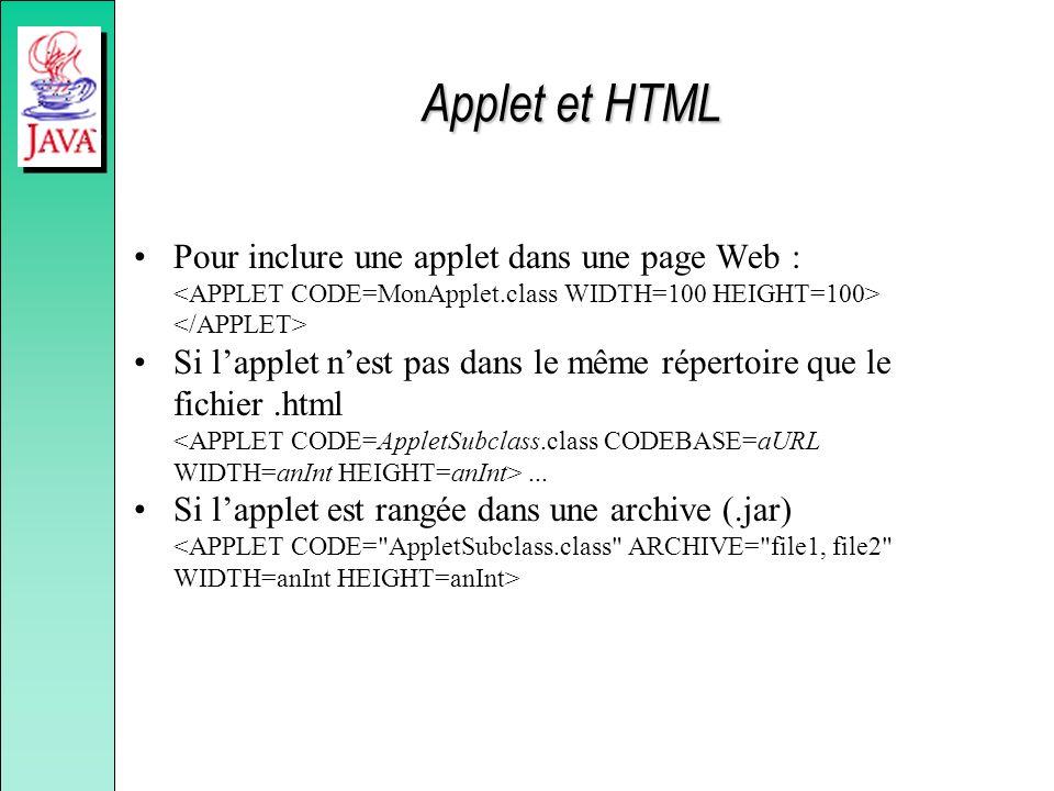 Applet et HTML Pour inclure une applet dans une page Web : Si lapplet nest pas dans le même répertoire que le fichier.html... Si lapplet est rangée da