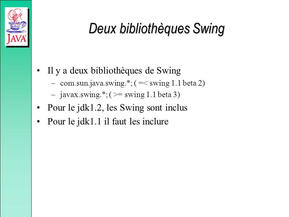 Deux bibliothèques Swing Il y a deux bibliothèques de Swing –com.sun.java.swing.*; ( =< swing 1.1 beta 2) –javax.swing.*; ( >= swing 1.1 beta 3) Pour