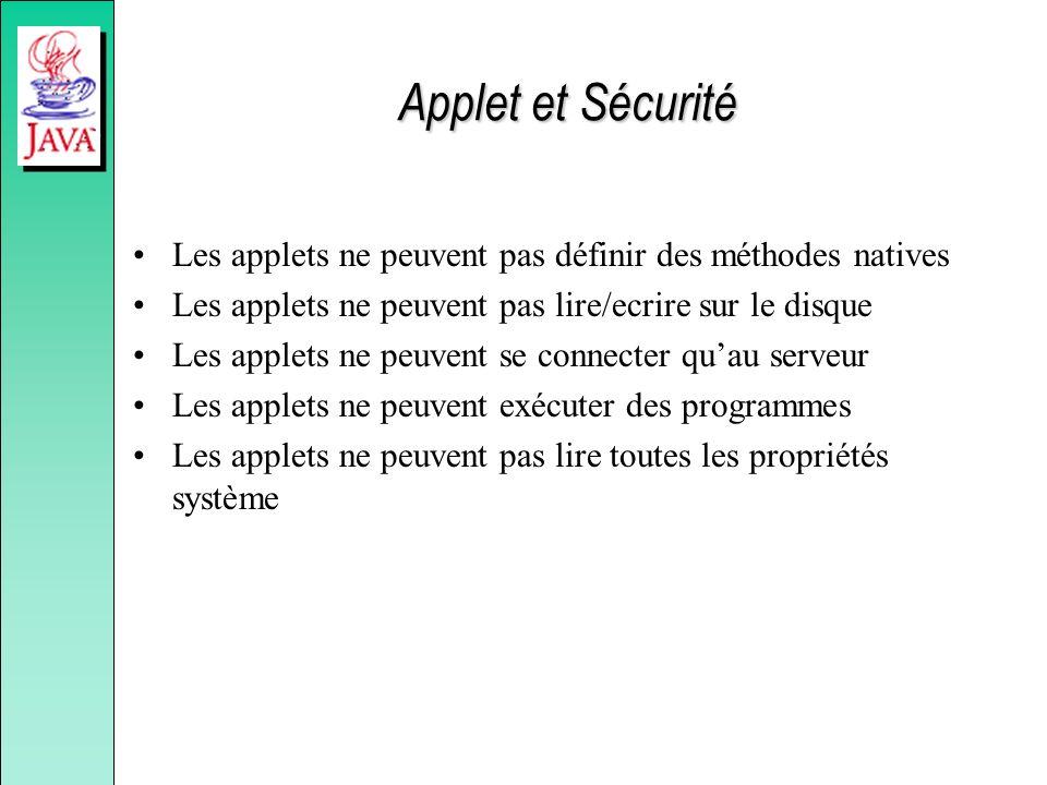 Applet et Sécurité Les applets ne peuvent pas définir des méthodes natives Les applets ne peuvent pas lire/ecrire sur le disque Les applets ne peuvent